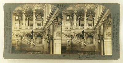 Keystone Stereoview of Congressional Library Wash from 1930's T400 Set #T4 D.C