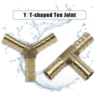 Brass Reducing Joiner Barbed Splicer 3 Way Tee Connector Pipe Fitting Y T-piece