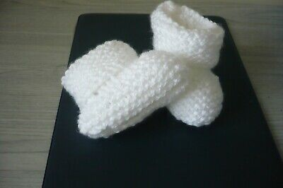 Brand New hand knitted baby bootees Premature or Newborn Doll WHITE