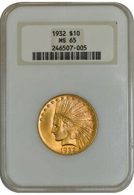 1932 $10 Gold Indian MS65 Generation 5 Holder - Last No Line Fatty NGC 941454-3