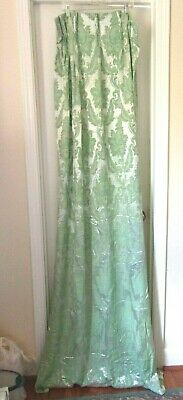 VINTAGE SATIN BROCADE PALE GREEN PINCH PLEAT CURTAINS PAIR 22 X 41 x 78