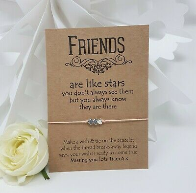 Personalised Wish Bracelet Card Charm Friends are Like Stars Inspirational