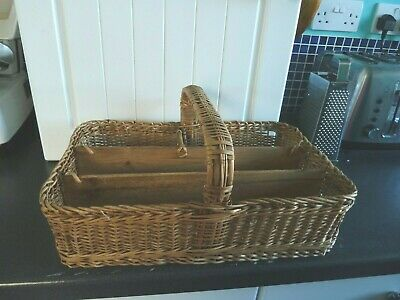 Large Antique Vintage Wicker Cutlery Carrying Tray