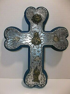 Vintage Mexican Wood PUNCHED Tin Folk Art CROSS Milagros CHARMS