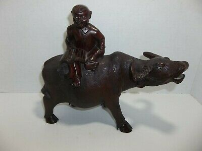 Vintage Chinese Rosewood WATER BUFFALO Man With Book Sculpture Glass Eyes