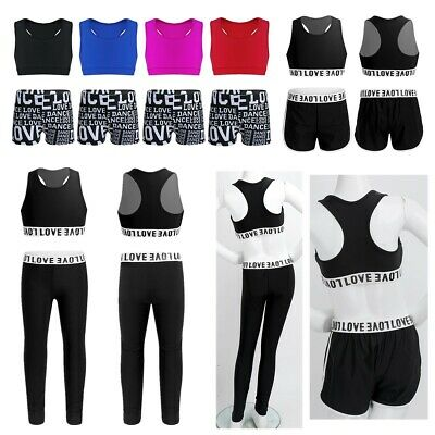 Girls Gymnastics Tanks Crop Top+Leggings Outfits Kids Athletic Sports Dance Wear