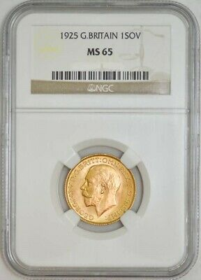 1925 Great Britain Sovereign NGC MS65 Gold