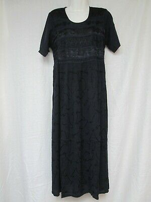 Vermont Country Store Dark Blue Tie Back Short Sleeve Embroidered Dress