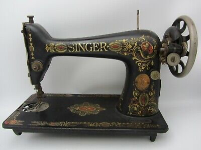 Vtg Antique Singer Treadle Sewing Machine Foot Powered Manual Parts Red Eye