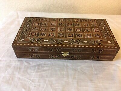 Backgammon/Chess Set With Mosaic Inlayed Wood And Mother Of Pearl