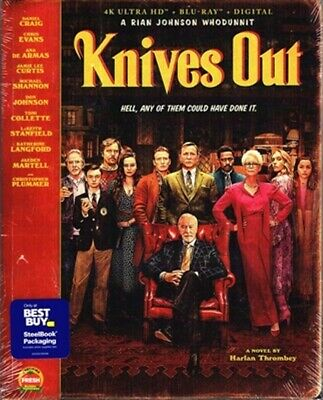 KNIVES OUT Best Buy STEELBOOK (4K + Blu-ray + Digital) BRAND NEW * RARE SOLD OUT
