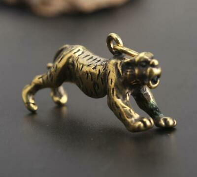 Chinese Old antique Collectibles pure brass lucky Zodiac tiger pendant Gift