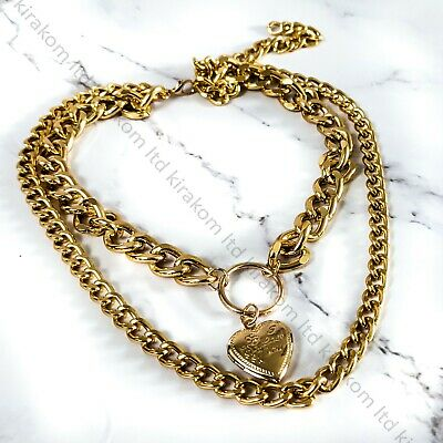 Double Layer Necklace Metal Heart Pendant Chunky Punk Thick Curb Choker Locket