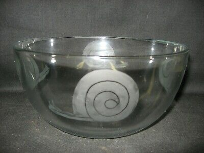 New Etched Snail Glass Serving Bowl
