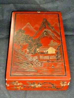 Superb Antique Japanese Lacquered Hand-painted Scholars Box, c1900