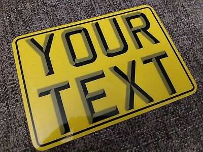 7x5 + 3D + Border yellow kids text age motorcycle NOT number plate bike metal