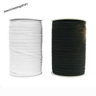 Elastic 8 Cord Flat, 6Mm Wide, Black & White, Ideal For Masks, 250 Metre Roll
