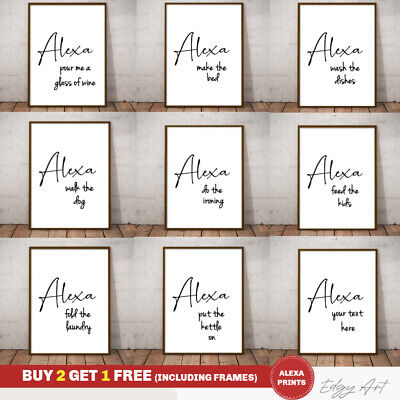 Alexa Home Funny Wall Art Poster Prints. Kitchen, Bathroom, Bedroom, Lounge