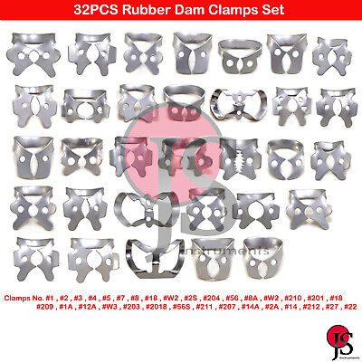 32PCS Dental Rubber Clamps Endodontics Rubber Dam Clam For Lower Upper Molars