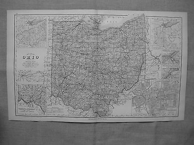 1877 OHIO RAILROAD MAP ALLEN MADISON MERCER AUGLAIZE COUNTY history LARGE