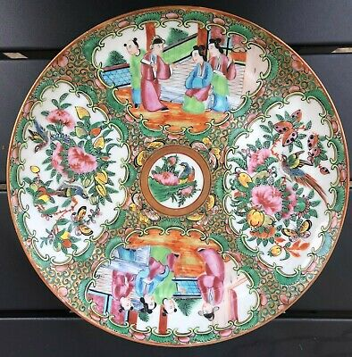 Antique 19 C. Chinese Export Canton Famille Rose  Plate, Birds and Figures