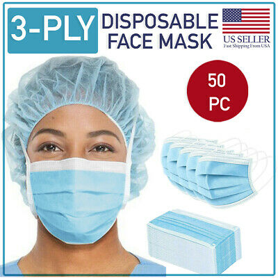 Disposable Face Mask 50 PCS 3-Ply Medical Surgical Dental Ear-Loop Mouth Cover
