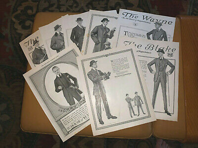 Lot of 8 Orig 1910s Kuppenheimer Ads - Men and Suits Leyendecker Art ad Gay int