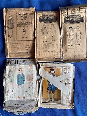 1920s Original Mccall Butterrick Pictorial Review Sewing Pattern Suit Boy Lot