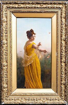 19th Century English School Classical Lady & Butterflies Antique Oil Painting