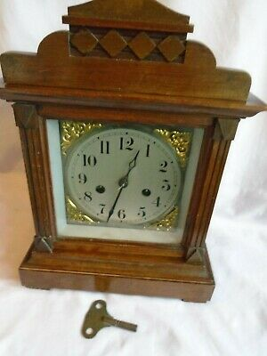 Antique Striking Mantel Clock In Good Working Order + Key