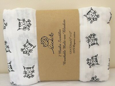 UK Stock 4 Large 100% Organic Cotton Muslin Blankets Swaddle Large  Baby Newborn