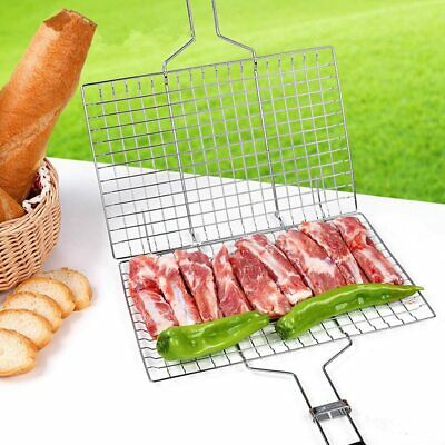 Bbq Meat Burger Fish Long Handle Grill Rack Large Basket Folding Stand Mesh