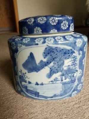 VintageChinese Tea Caddy Pagota Plum Flower Blue and White Figural and Landscape