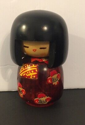"""WOODEN JAPANESE KOKESHI DOLL 4"""" SIGNED ON BOTTOM-Preowned  Sold as Is Pictured"""