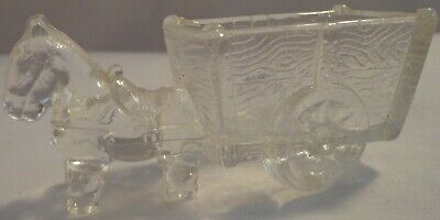 CLEAR GLASS DONKEY CART CANDY DISH BOWL VINTAGE FIGURINE MULE Horse Jeanette