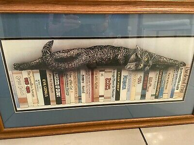 Library Cat Limited Edition Vintage Print Framed