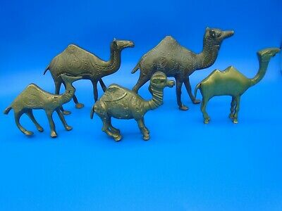 Assorted Lot of 5  Brass Camel Figurines