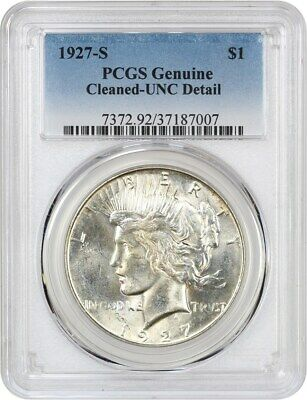1927-S $1 PCGS UNC Detail (Cleaned) Better Date from San Francisco