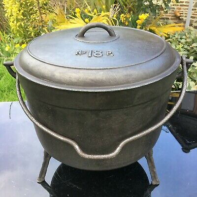 Large Cast Iron Cauldron Marmite Hanging Planter With Lid 11 Kg Vintage French