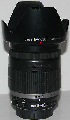 Canon EF-S 18-200mm f/3.5-5.6 IS lens + Canon EW-78D hood