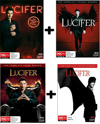 LUCIFER 1+2+3+4 2016-2019 Crime Solving Devil TV Season Series Au Rg4 DVD Coll.
