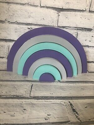 Handmade Purple & Mint Green Rainbow Stacker - Nursery - Childs Room Decor NHS