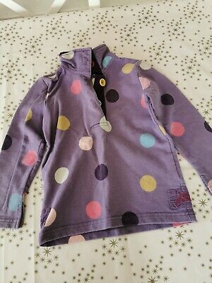 Girls Little Joules Purple Spotted Jumper Age 3