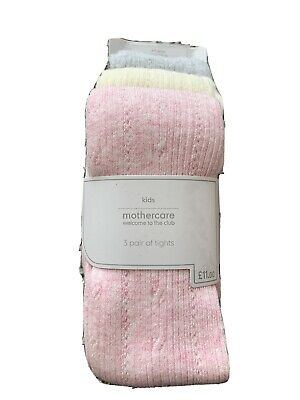 Mothercare Kids Tights 4-5 Years Pink Cream Grey Bnwt