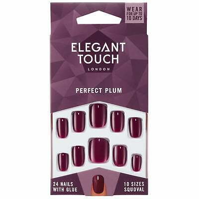 Elegant Touch Perfect Coloured False Nails Collection - Perfect Plum (24 Nails)