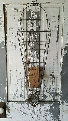 Antique Early Country Store Wire BAG & STRING HOLDER Wall Hanging Style