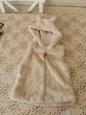 Baby Girls Faux Fur Hooded Gilet 2-3 Years New