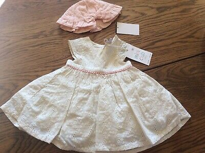 Baby Girl NEXT/MINI CLUB Broderie Dress And Hat Age First Size Bnwt