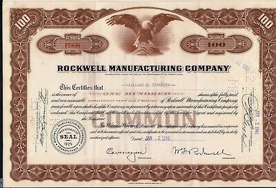 Stock certificate Rockwell Manufacturing Company 100 shares