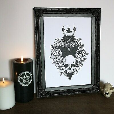 Gothic Tattoo Style Art Print Skull Moth Roses Moon Home Decor Occult Mystical